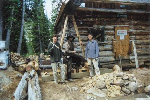 The Traditional Timber Framing restoration crew. Left to right, Keegan Murphy, Joern Wingender, Jay van Zyll de Jong.
