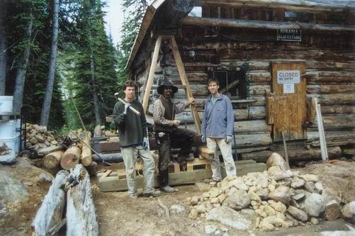 The Traditional Timber Framing restoration crew. Left to right, Keegan Murphy, Joern Wingender, Jay van Zyll de Jong.
