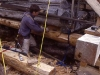 The first new log had to be carefully matched to the existing log.